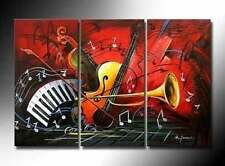 charming modern  3pcs 100% hand-painted music oil painting wall art on canvas
