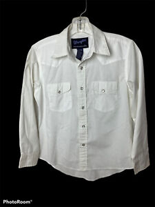 Wrangler Kids Size 10-12 Large White Snap Front Western Rodeo Cowboy Shirt GUC