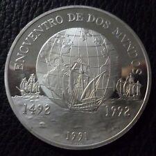 CHILE SILVER COIN 10000 Pesos, KM230 PROOF 1991 - Encuentro de Dos Mundos