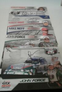 Autographed NHRA Funny Car, Hero Cards. Bundle of 7 signed by John Force Racers