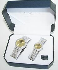 GENEVA SILVER TONE S/STEEL TEXTURED BAND+GOLD DIAL 2,TWO PIECE HIS+HER WATCH SET