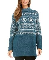 Style & Co Women's  Fair Isle Tunic Sweater Green Size Large