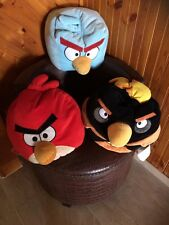 "Angry Birds Lot Of 3 Red, Black & Blue Birds 14"" Bean Bag Pillow"