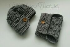 NEW Newborn Baby Newsboy Hat and Diaper cover Crochet infant photo prop Gift