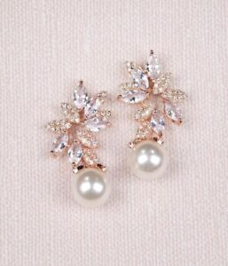 Rose gold bridal pearl and crystal earrings