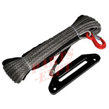 """10mm 3/8"""" inch x 100' (30M) Synthetic Winch tow Rope Cable with Fairlead, Hook"""