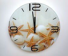 Wall clock tempered glass round beach shells starfish white 35cm
