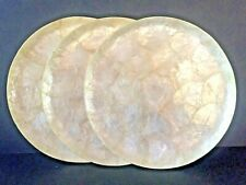 Capiz Shell Mother of Pearl Vintage Round Vanity Decorative Tray Set/3