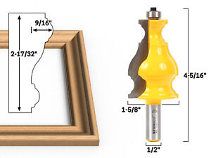 """Large Elegant Picture Frame Molding Router Bit - 1/2"""" Shank - Yonico 16192"""