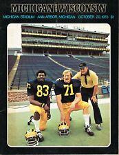 Michigan Football Program - vs. Wisconsin, October 20, 1973,