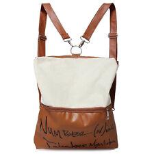 Mode Leinwand 2 in 1 Handtasche Schultertasche Rucksack Beige J3L3