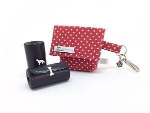Doggy Bag, Dog Walking Accessories, Red Polka Dot, Dog Poo Bag Carrier