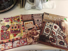 Mixed Lot of 3 QUILTING Leaflets Punch Quilt Tapestry Leisure Arts EUC