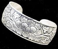 "Western Jewelry Antique Silver Engraved 3/4"" Wide Cuff Bracelet"
