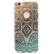 For iPhone 6+ / 6S+ Plus - TPU RUBBER SKIN CASE COVER GREEN CLEAR AZTEC FLOWER