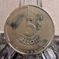 CIRCULATED 1986 5 FRANCS BELGIUM (BELGIE) COIN (020917)1