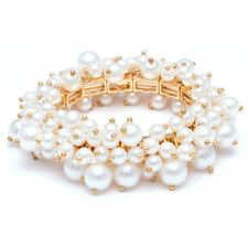 Elegant Faux Pearl Clustered Stretch Gold Bangle Bracelet FAST SHIP FROM USA