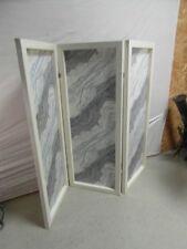 Paravent 3-teilig Holz Stoff Raumtrenner Antik Stil Schutzwand Abtrennung Solide