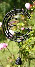 Japanese Wind Chime Furin Black Cast Iron Stream w/ Fish Pattern, Made in Japan