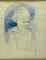 Signiert und datiert 1954 - Kinderportrait vor blauem Hintergrund