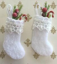 Miniature Dollhouse Christmas Stockings Set of 2 Handmade 1:12 Scale by Cyndi