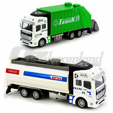 Set of 2 Friction Powered Metal Diecast Garbage Truck & Fuel tank Truck Kids Toy