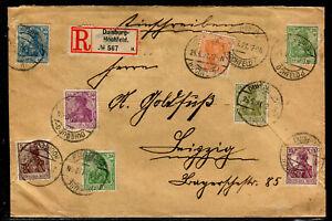 INFLA: GERMANIA MISCHFRANKATUR auf RECO ab DUISBURG HOCHFELD 1921 nach LEIPZIG