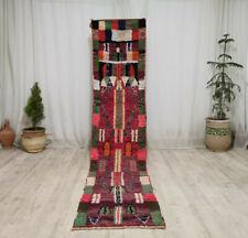 Moroccan Vintage Handmade Boujaad Runner 2'x10'7 Berber Picasso Pink Green Rug