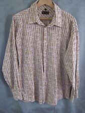 Ben Sherman Textured Floral Over Stripe LS Shirt Size XL