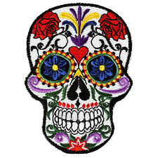 Embroidered Small Sugar Skull Heart Flowers Sew or Iron on Patch Biker Patch