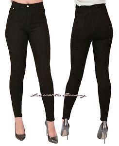 Womens Ladies High Waist Frayed Hem Slim Skinny SUPER Stretch Black Jeans 6-14.