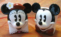 MICKEY & MINNIE MOUSE FACE VASE CONTAINERS Classic Pair Disney Enesco Set/2 NOS