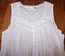 "NWT Eileen West 50"" Solid White FLORAL CROCHET Cotton Lawn Nightgown Gown S $70"