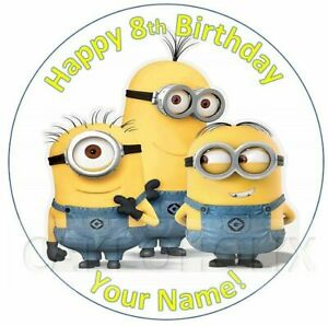 Despicable Me Minions Happy Birthday Edible Cake Topper Personalised Message