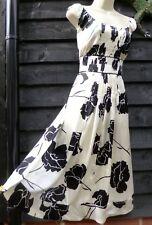 RP£85 FAB MONSOON POPPY Size 14 100% SILK FLORAL IVORY BLACK PRINT PLEAT DRESS