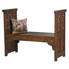 Church Pew Hand Carved Solid Mahogany Antique Replica Chapel Gothic Seat Bench