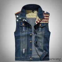Retro Mens Slim Denim Vest Sleeveless Jean Jacket Trucker Casual Waistcoat M-5XL