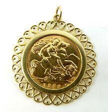 Vintage 22ct Gold Half Sovereign Coin Dated 1982 In 9ct gold Mount HEART Detail