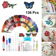 100 Color Cross Stitch Embroidery Punch Thread Floss Sewing Skeins Needle Kits