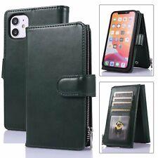 Plain Flip Leather Wallet Cell Phone Case 9 Card Pocket Folio Book Kickstand