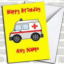 Ambulance Cartoon Birthday Customised Card