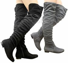 Ladies Womens Slouch Over The Knee Thigh High Boots Stretch Low Heels Shoes Size
