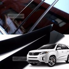 Glossy Black B C Pillar Post UV Coating Cover Trim 6Pcs For KIA 2010-14 Sorento