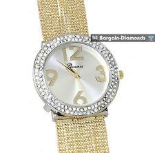 ladies elegant gold tone designer-style fashion dress watch white crystals bead