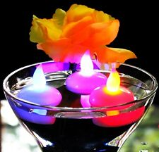 12 Floating LED Colour Changing Battery Tea Lights - Waterproof Table Mood Light