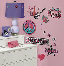 34 New GIRLS ROCK AND ROLL WALL DECALS Stars Guitars Stickers Music Decorations