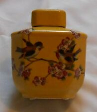 Tozai Home - Brand New Jar Vase Hand Painted with Love Birds Imperial Yellow