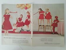 1956 little girls Rosy red velvet rayon dress blowing party favors balloons ad