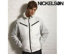 MENS NICKELSON STIPE LIGHTWEIGHT HOODED JACKET - SIZE EXTRA LARGE - WHITE/GREY.