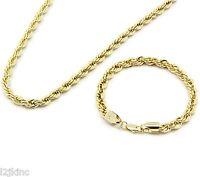 "Men's 14k Gold Plated 24"" Inch 6mm Hip-Hop Dookie Rope Chain & Bracelet Set"